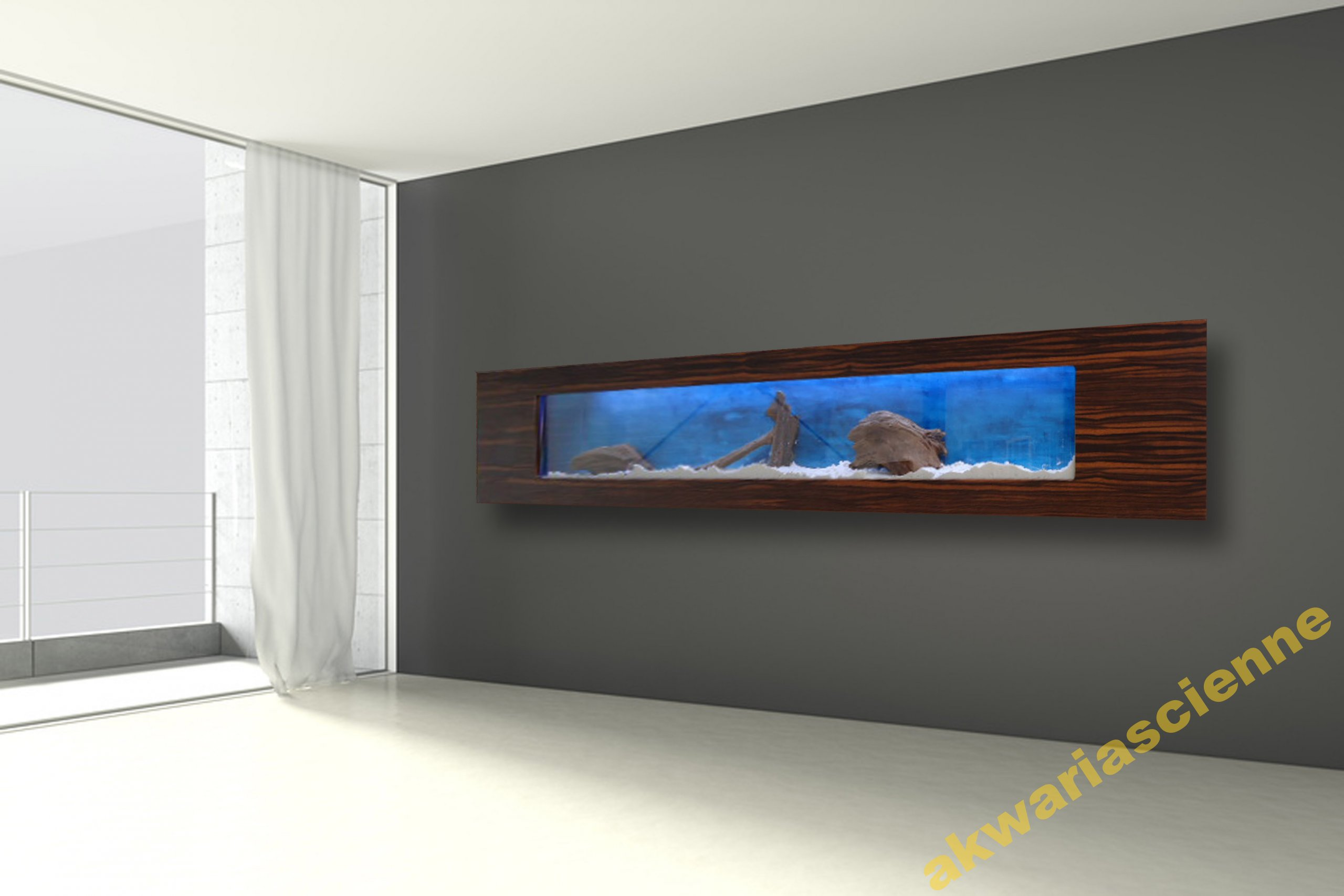 Akvárium visí Akvárium LED 250x50x16cm UMENIE