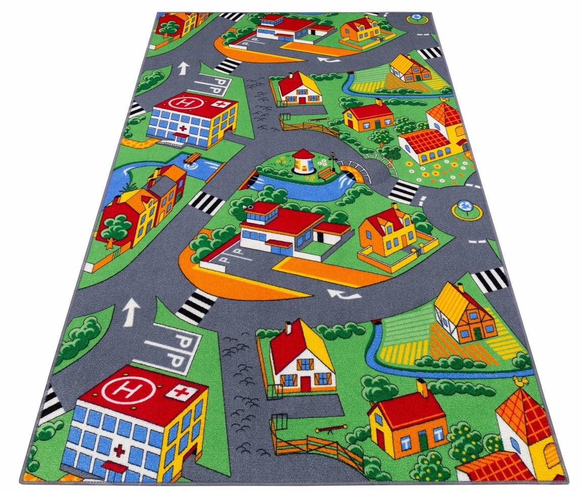 Koberec Deti 200 x 250 ulica, mesto, autá, poľnohospodárske