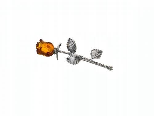 Broszka - Bursztynowa Różyczka (3) Srebro 925