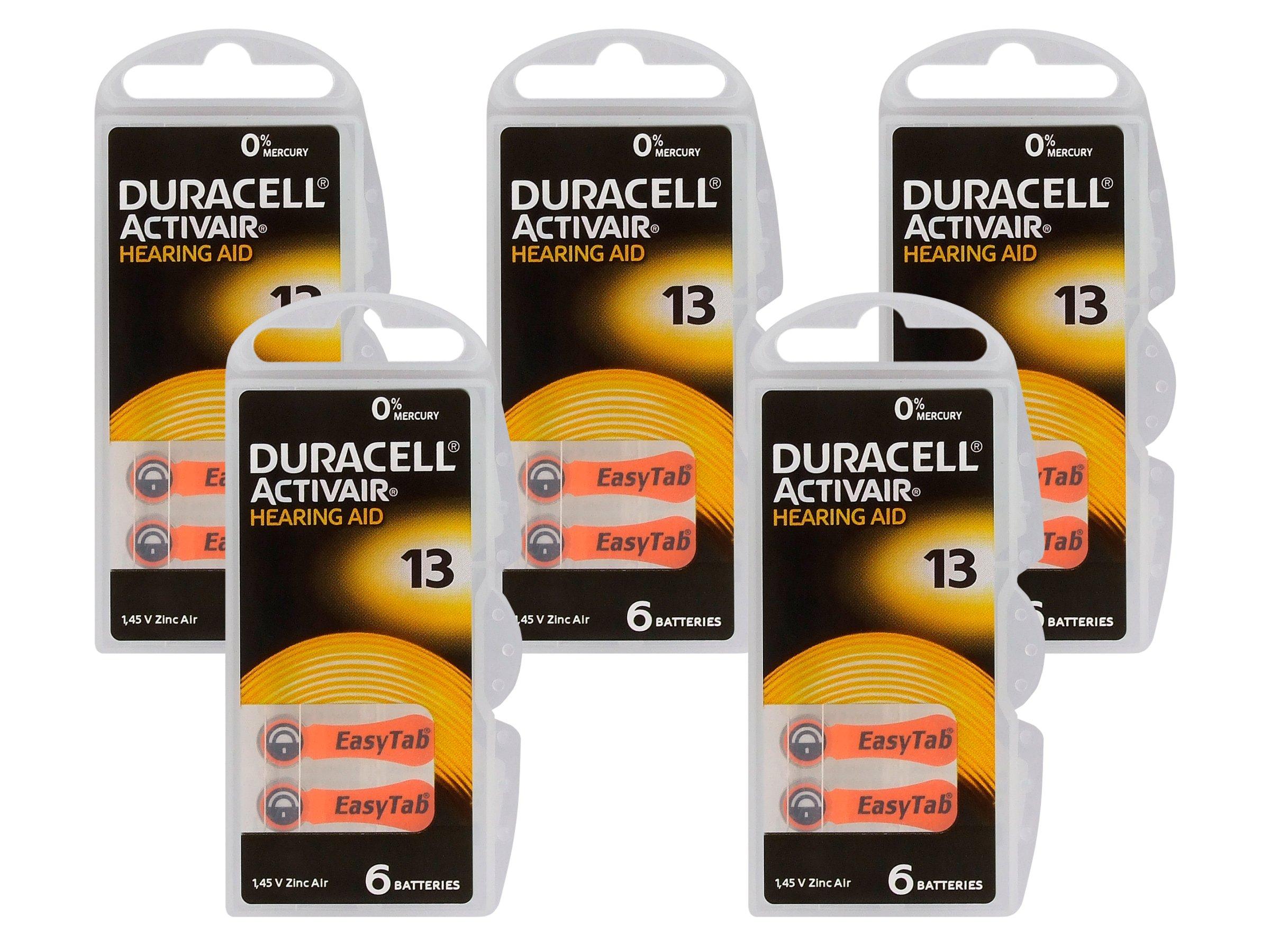 30 x Baterie słuchowe 13 PR48 Duracell ActivAir