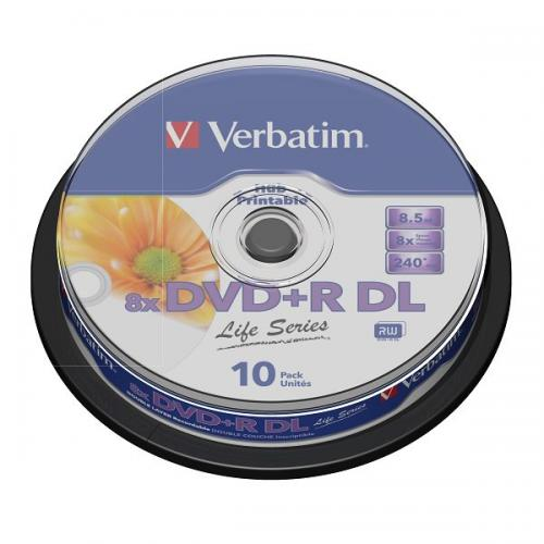 Item DISKS VERBATIM DVD+R DL 8.5 GB PRINTABLE 10pcs