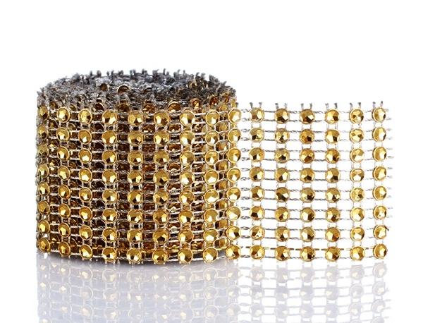Zlatý šál, pásky s kubickým zirkóniu, diamanty, 2m