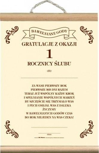 Dyplom życzenia Na 1 Rocznicę ślubu Jubileusz 1kę