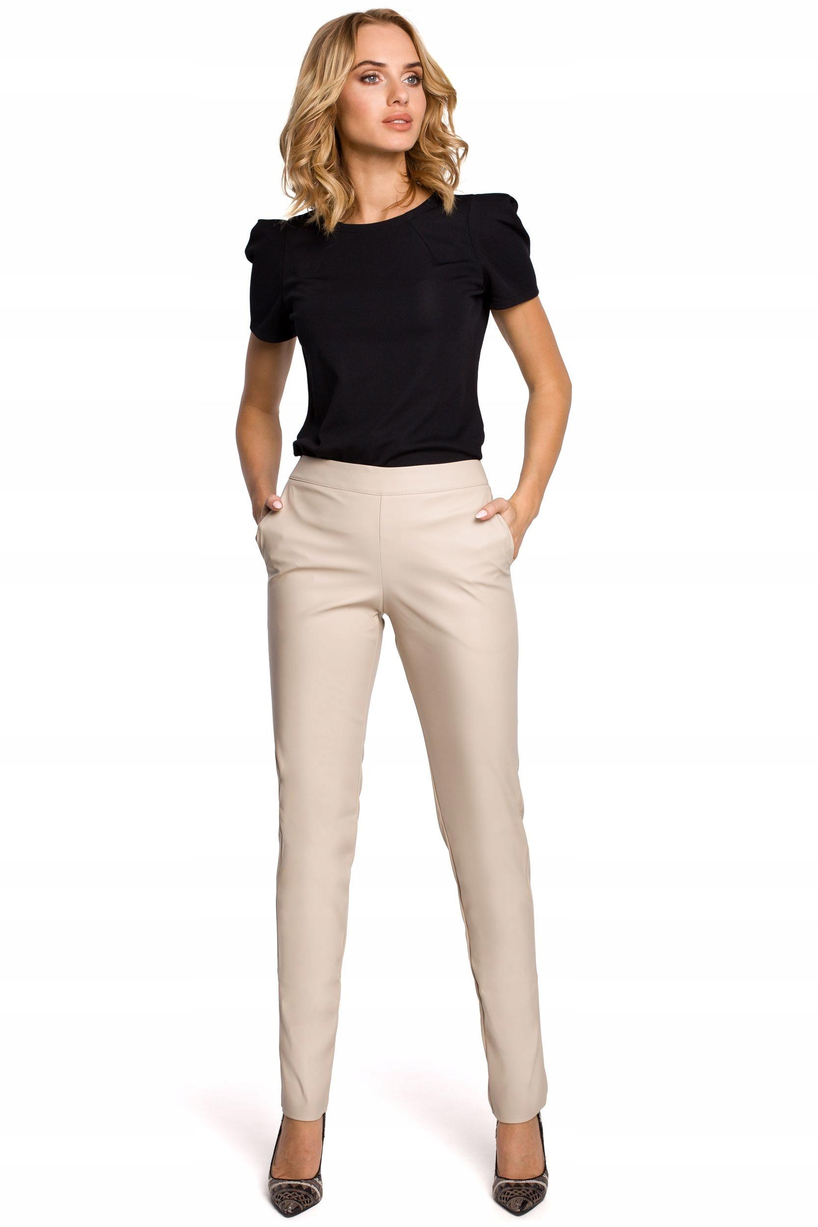 M144 Spodnie rurki z ekologicznej skóry - beżowe 3