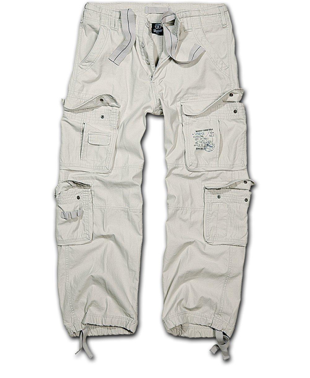 Nohavice BRANDIT Čistý Vintage staré biela M