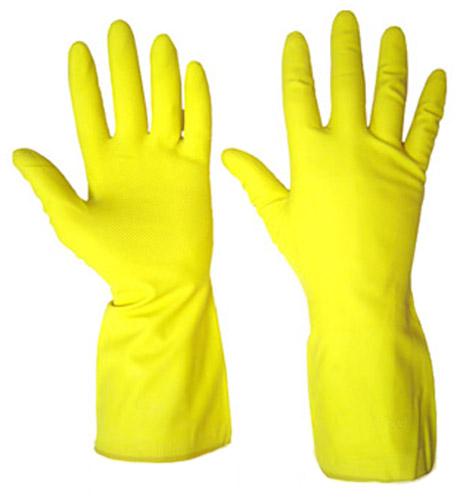 Перчатки хозяйственные на основе латекса желтые ТРУДА