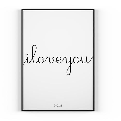 Plakat I Love You 30x40cm Styl Skandynawski