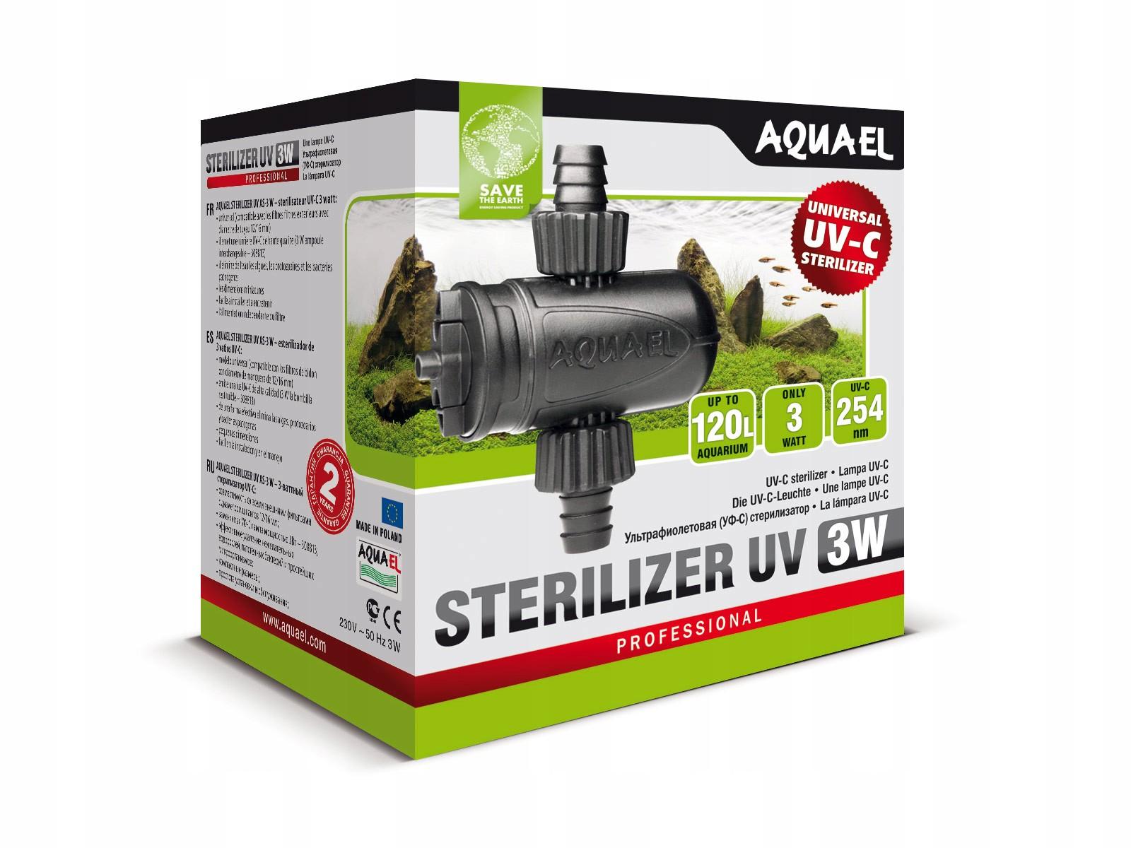УФ-C - AQUAEL лампа AS-3W-УФ-стерилизатор длина 12 см