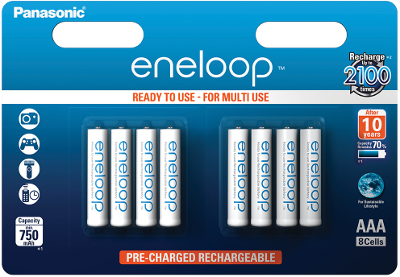 Item 8X PANASONIC ENELOOP rechargeable BATTERIES R03/AAA 8BL