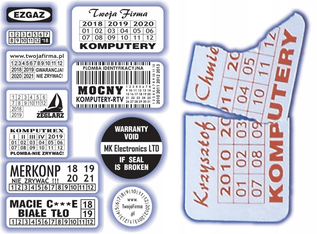 30x10 Plomby gwarancyjne Kruche / 900 - ArtComp