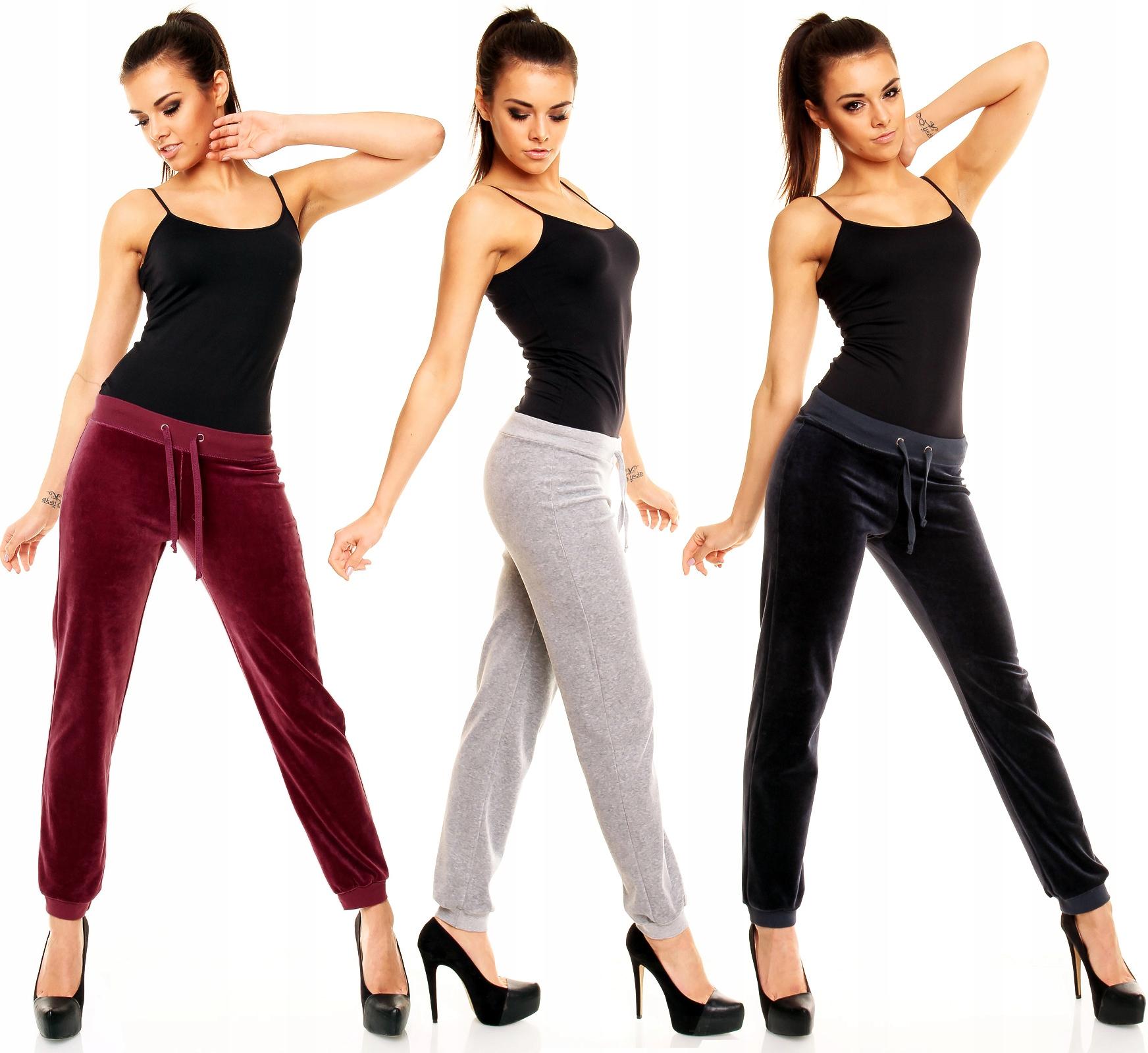 Spodnie Dresowe Welurowe Ściągacz XL Fitness Dresy