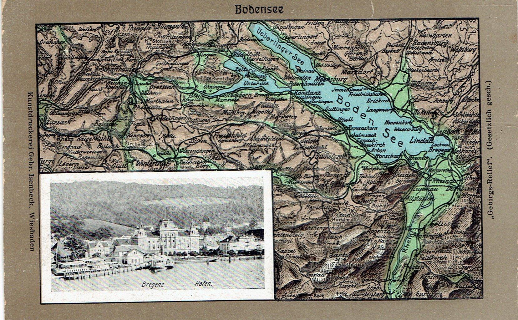 Австрия - Брегенц - Боденское озеро 1908 с тиснением