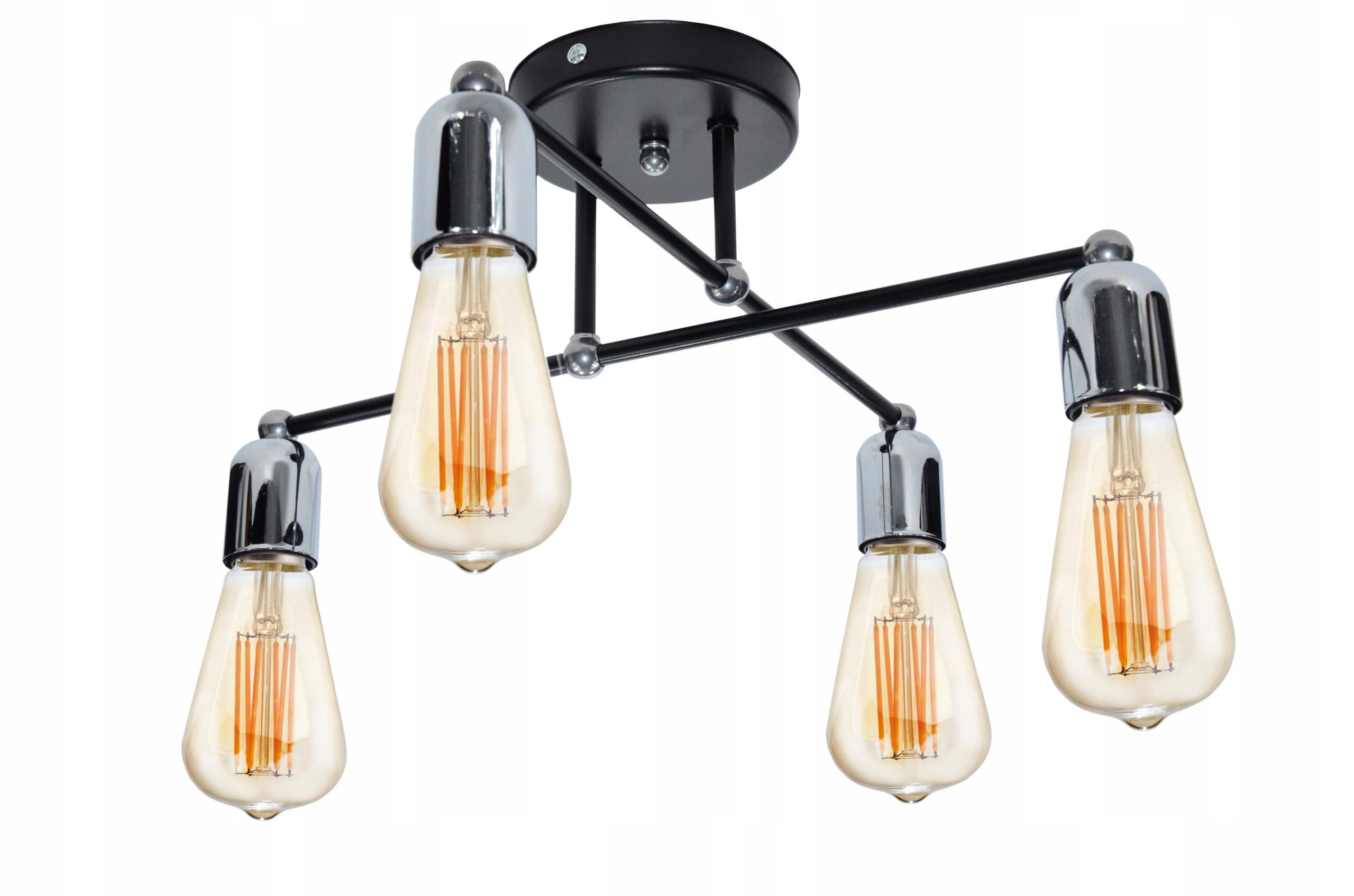 MZ4 Czarny_Chrom lampa Stropný luster Lampa