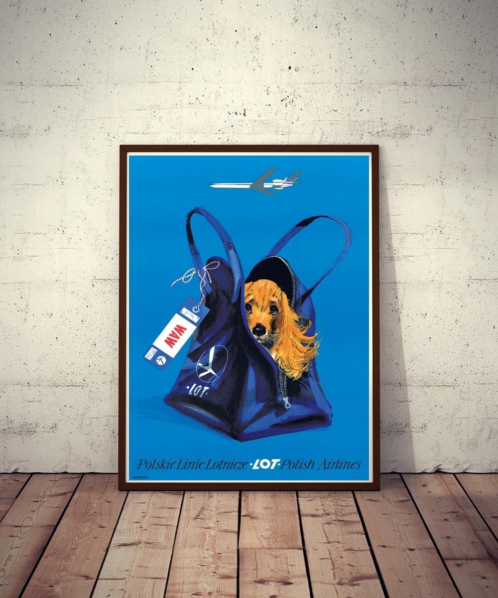 Plakat reklamowy LOT Spaniel w walizce -Grabiański