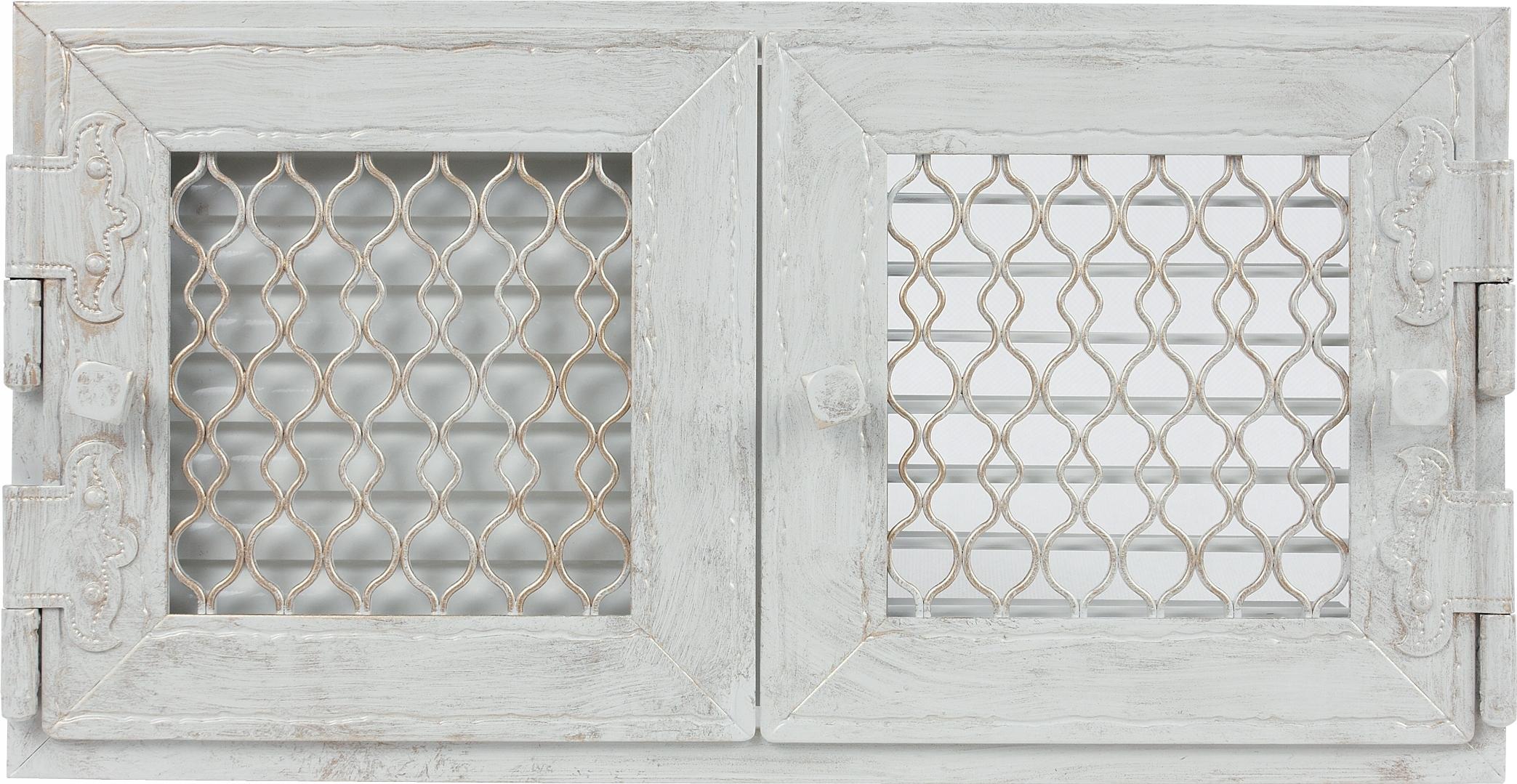 Retro dvojitá biela starožitná mriežka, otvorená 22