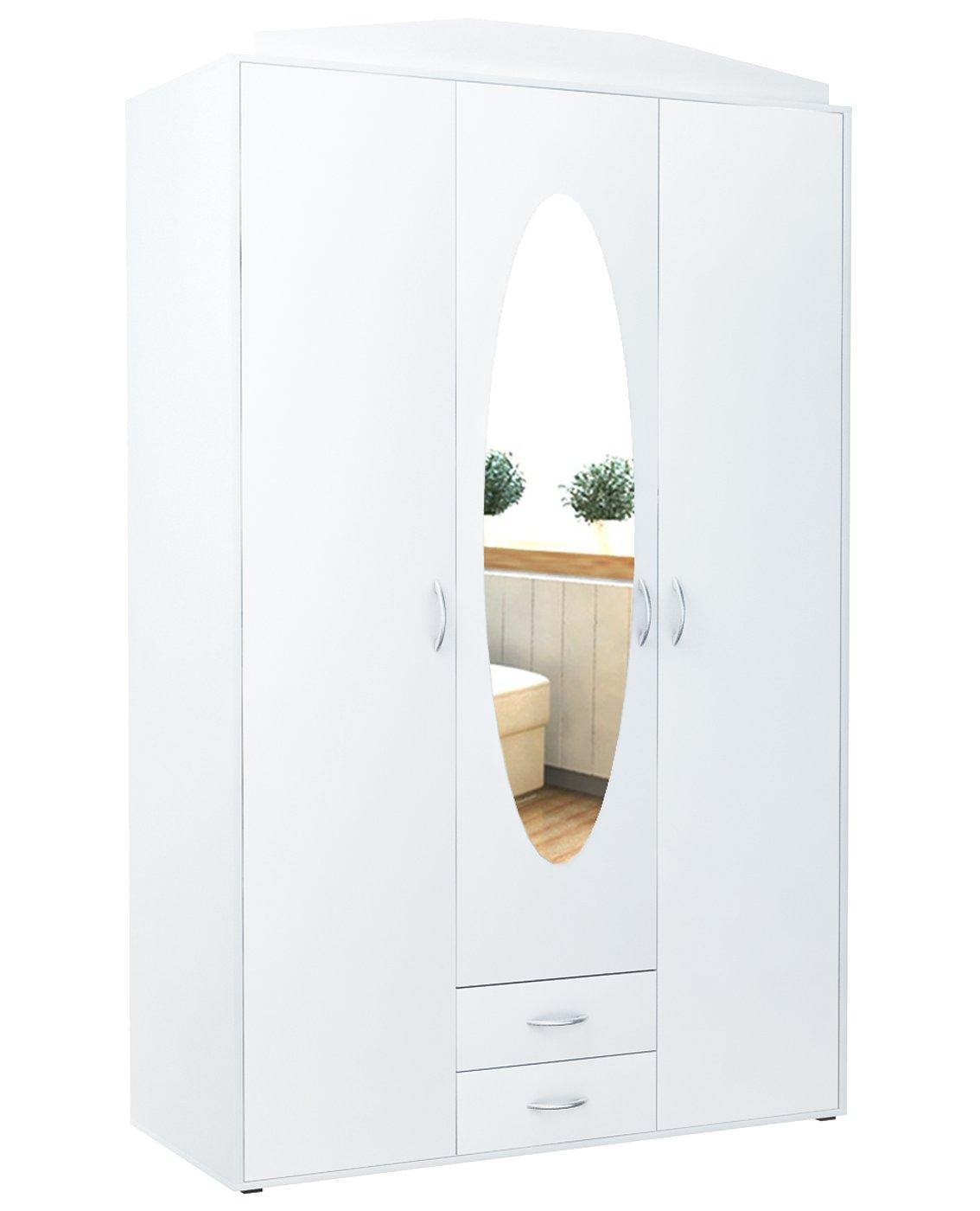 Шкаф 3D2S БЕЛЫЙ шкаф трехдверный с зеркалом