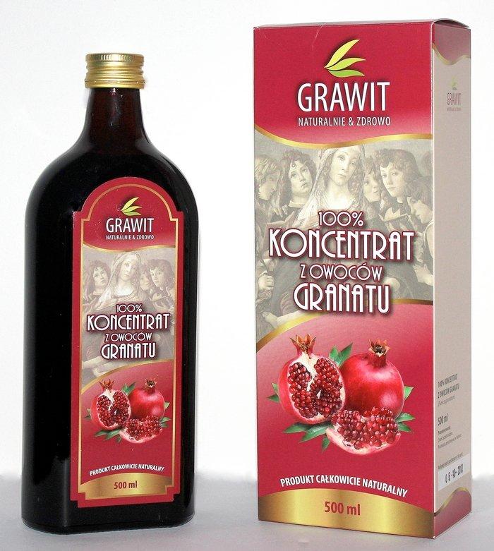 Grawit 100% koncentrát šťavy z granátového jablka, 500 ml