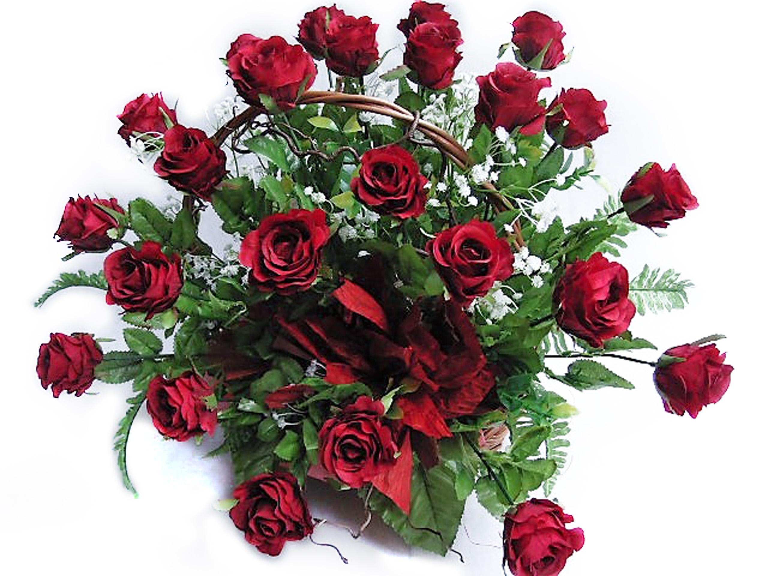 Kvet koši 25 ruže, kvety headdress na hrob nápis
