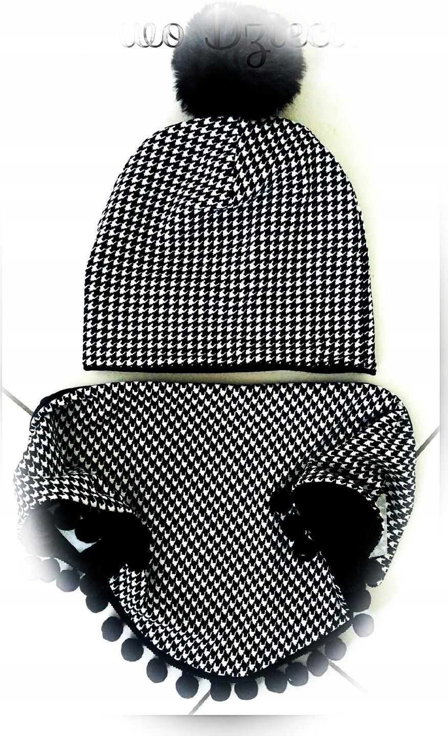Sady klobúk a šatku zimné pepitka