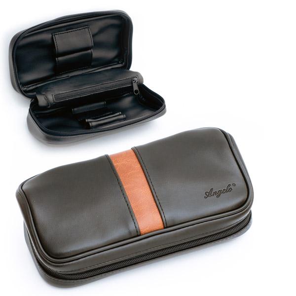 Кожаный чехол на 2 сигареты традиционные черные Большие
