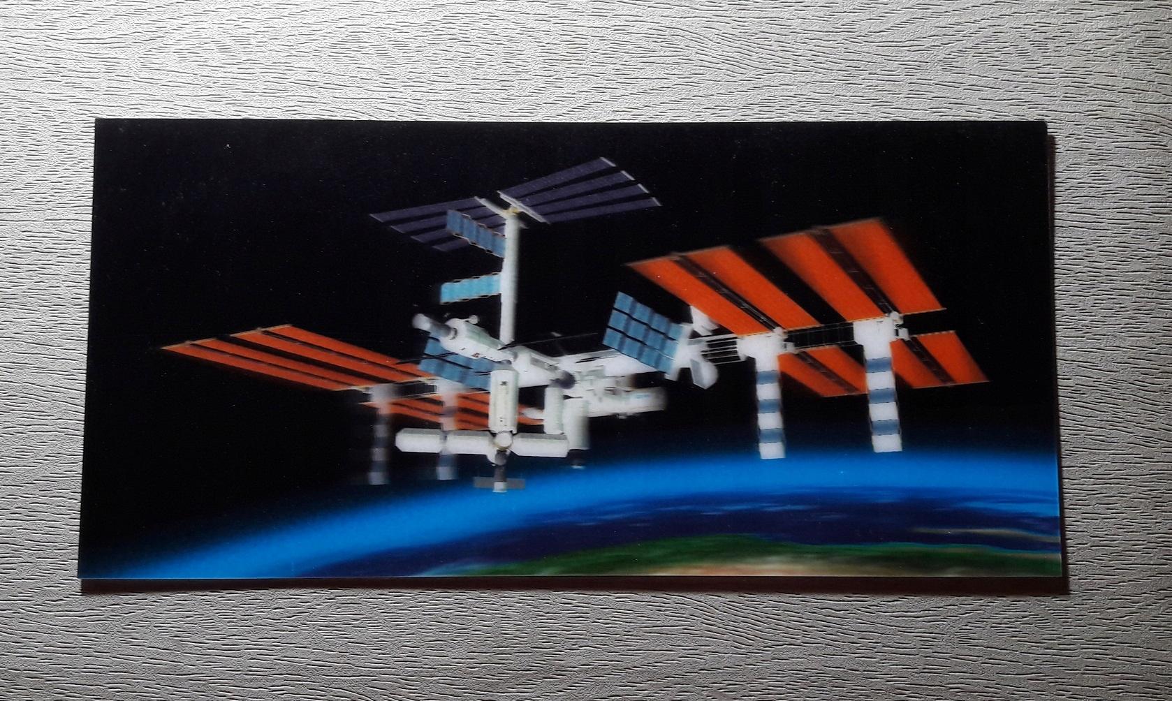 Космос космическая станция трехмерная открытка 3D