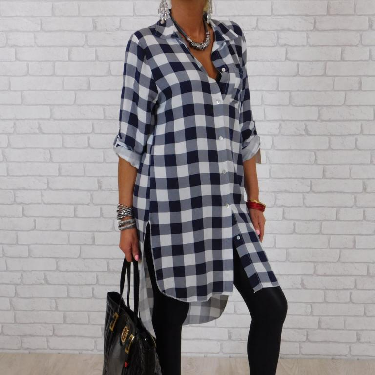 149# Włoska Koszula Tunika Krata Asymetryczna 7451525944