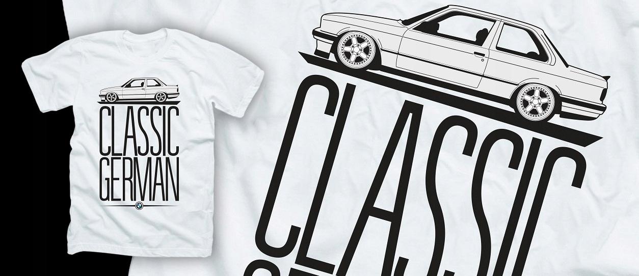 T-tričko BMW E30 NEMECKÝ KLASICKÉ T-tričko retro