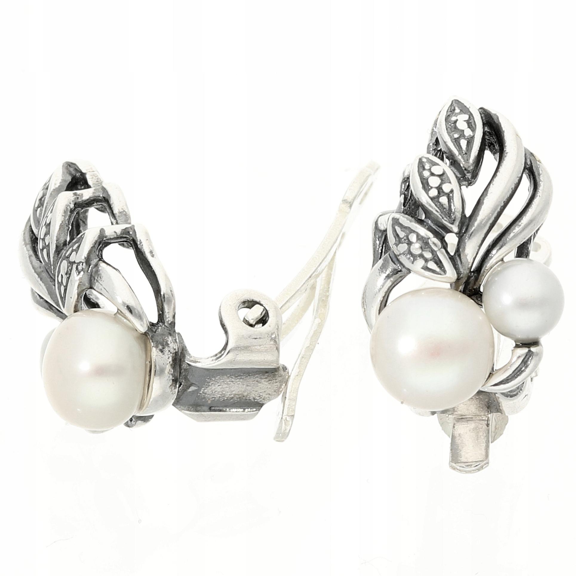 clip-on náušnice strieborné perla perla flóra