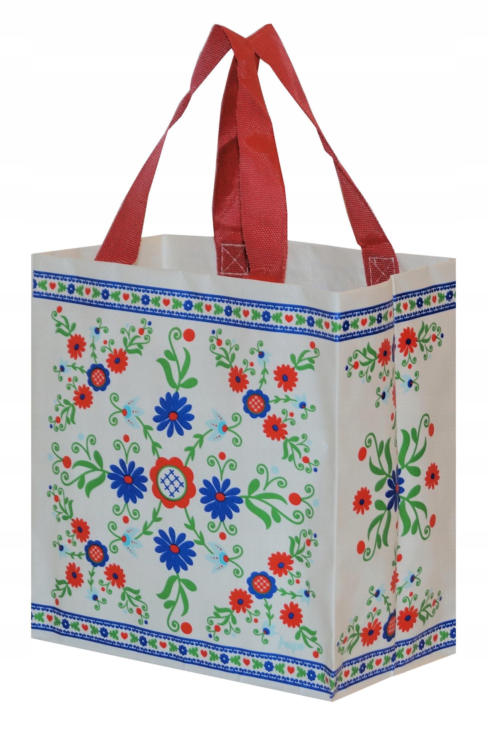 e75c3f5674242 FOLK MINI CZARNA Torba na zakupy w kwiaty NOWOŚĆ 7081522723 - Allegro.pl