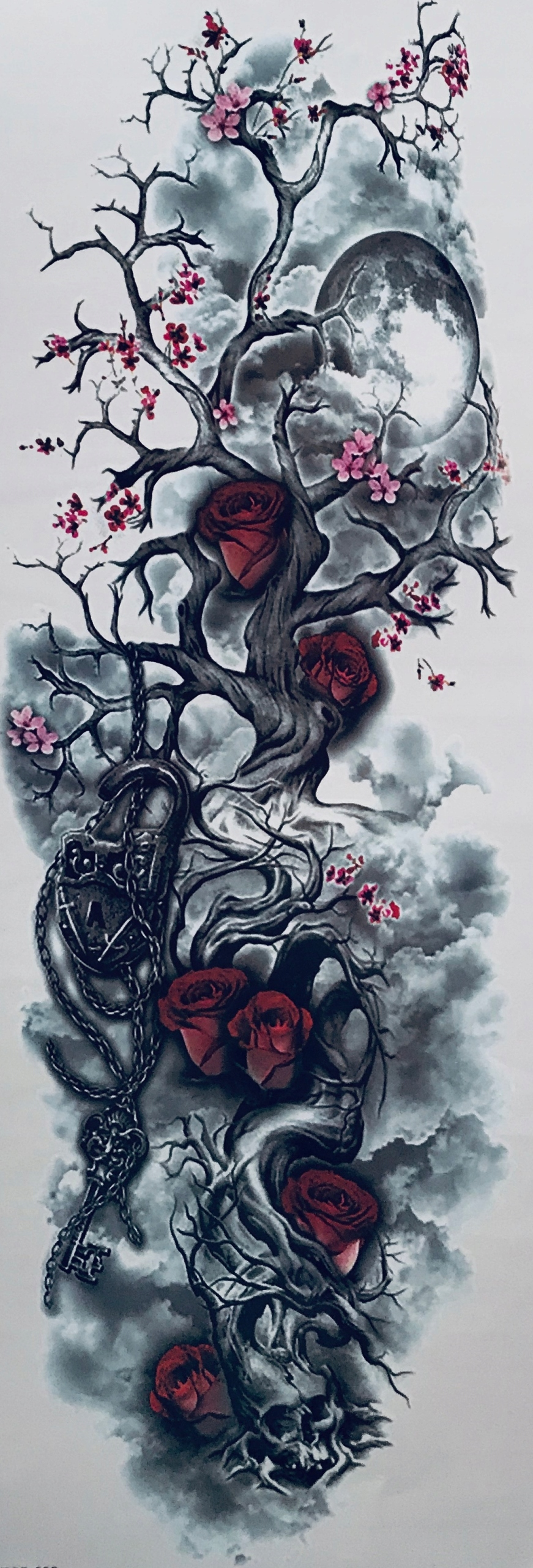 Tatuaż Rękaw Klucz Kwiat Drzewo Księżyc Kłódka 10