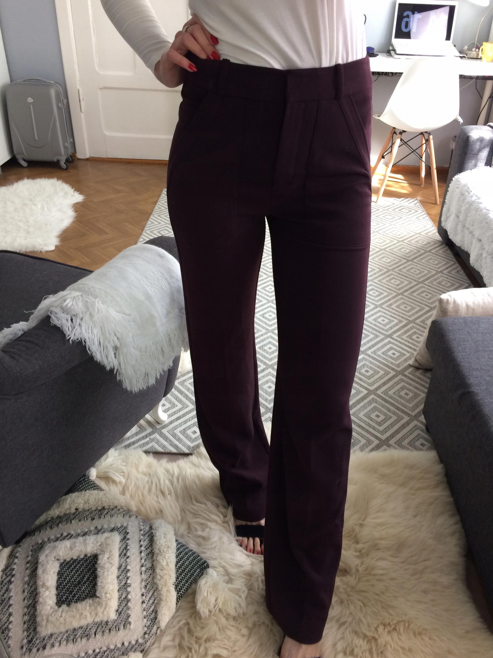 MANGO nohavice elegantné dámske retro Burgundsko S