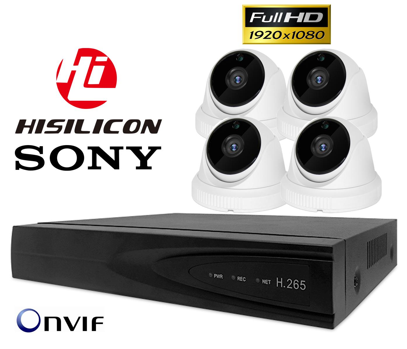 4x FULL HD SONY MONITORING H265+ NVR POE WDR IR Kod producenta TS08 + 4x wew. CP200