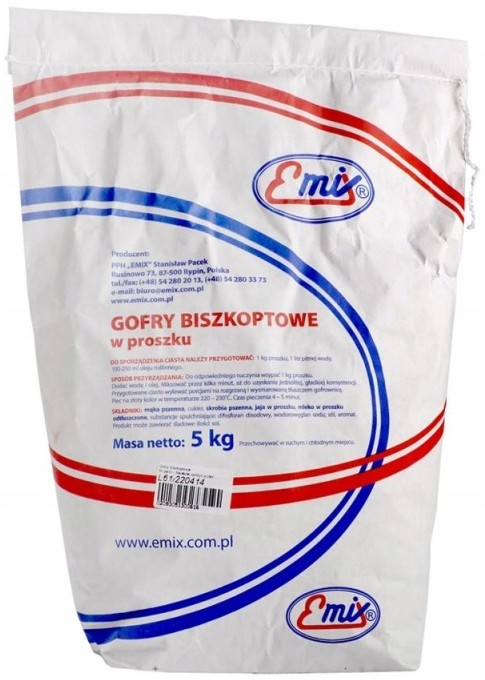 Item the dough FOR the WAFFLES BISZKOPTOWE 5 kg Gofrownica EMIX