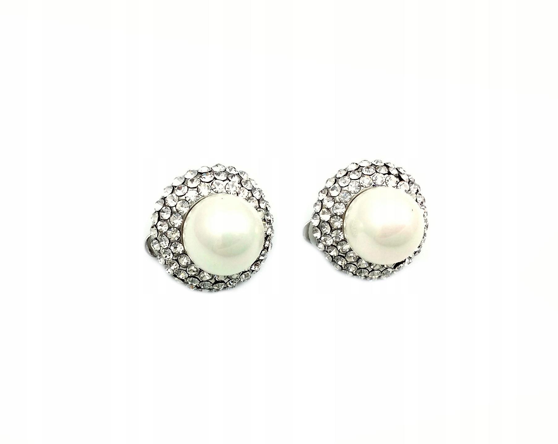 Clip-on pearl náušnice drahokamu Vintage c28