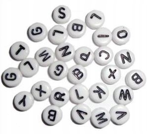 Item LETTERS BEADS, WHITE COIN 7mm 100pcs ACRYLIC