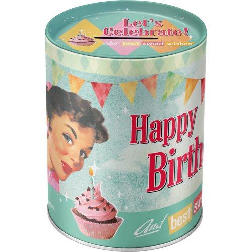 Kovové PRASIATKO RETRO Happy Birthday Vtákov