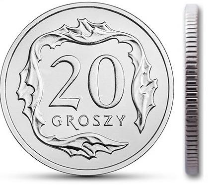 Монета номиналом 20 грошей 1999 года с мешком