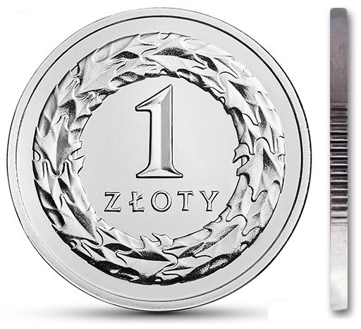 Мятная монета 1 злотый 2018 из мешочка