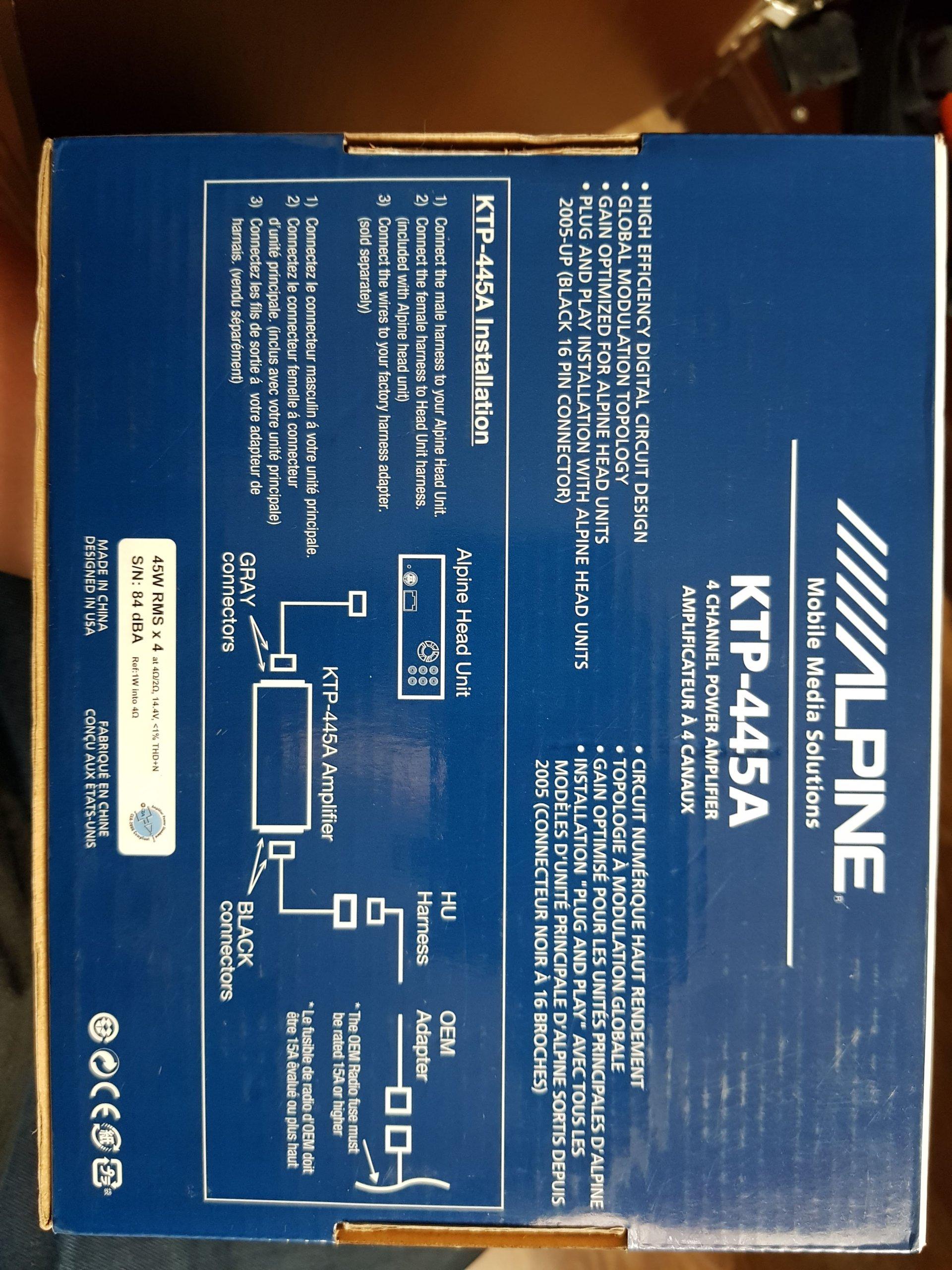 Wzmacniacz Alpine KTP-445 4x100w, 4x45w RMS - 7363805733 - oficjalne ...