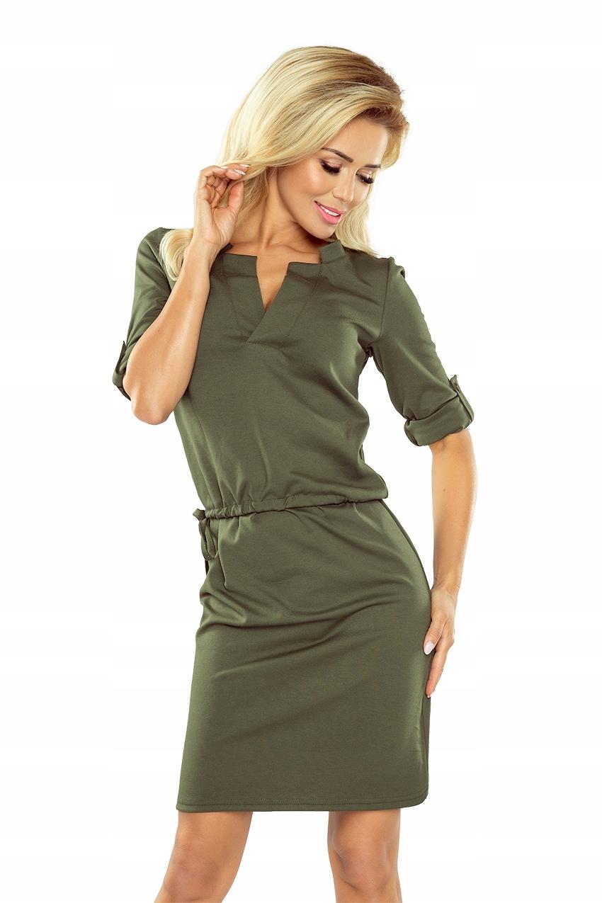 a53d7cac9e Zielona Sukienka z kołnierzykiem KHAKI L 161-2 - 7701418795 ...