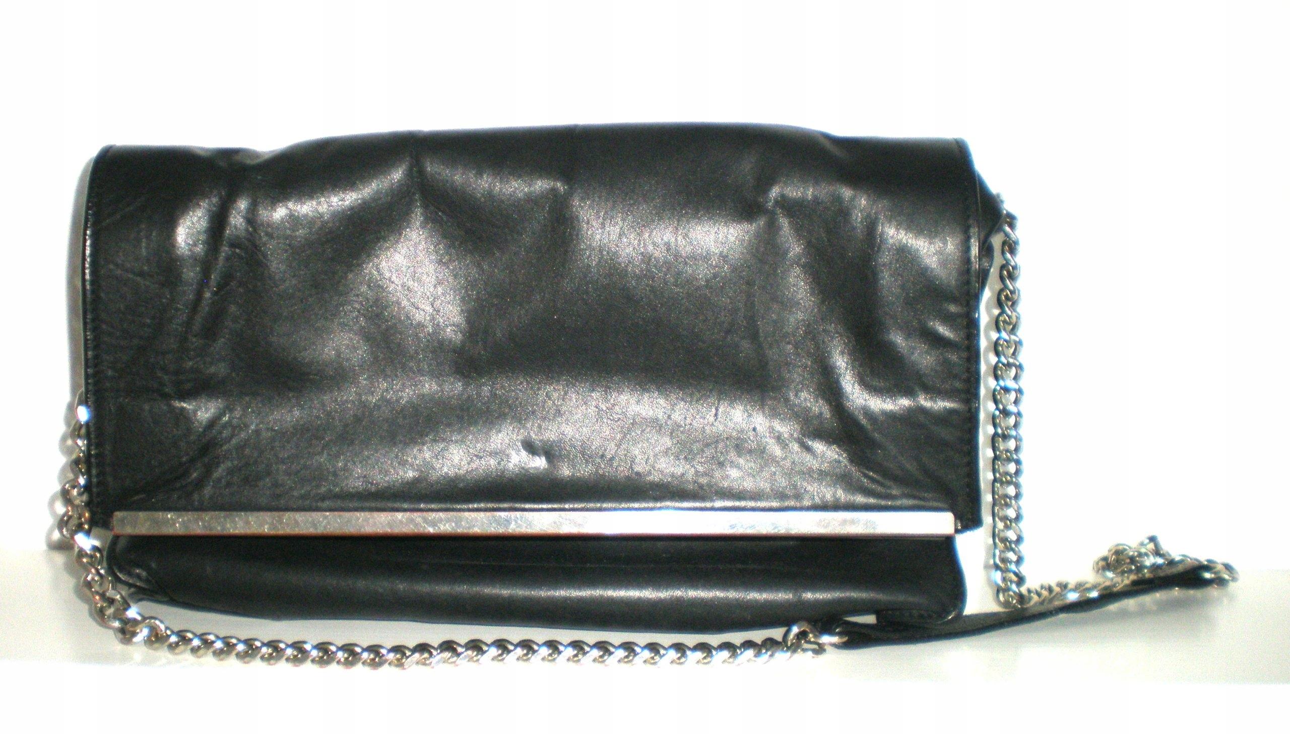 dd87349883b7b czarna skórzana torebka na łańcuszku ZARA WOMAN - 7554578704 ...