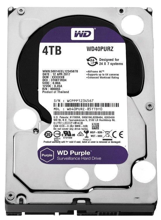 Purple WD40PURZ 4TB 64MB SATAIII 5400rpm