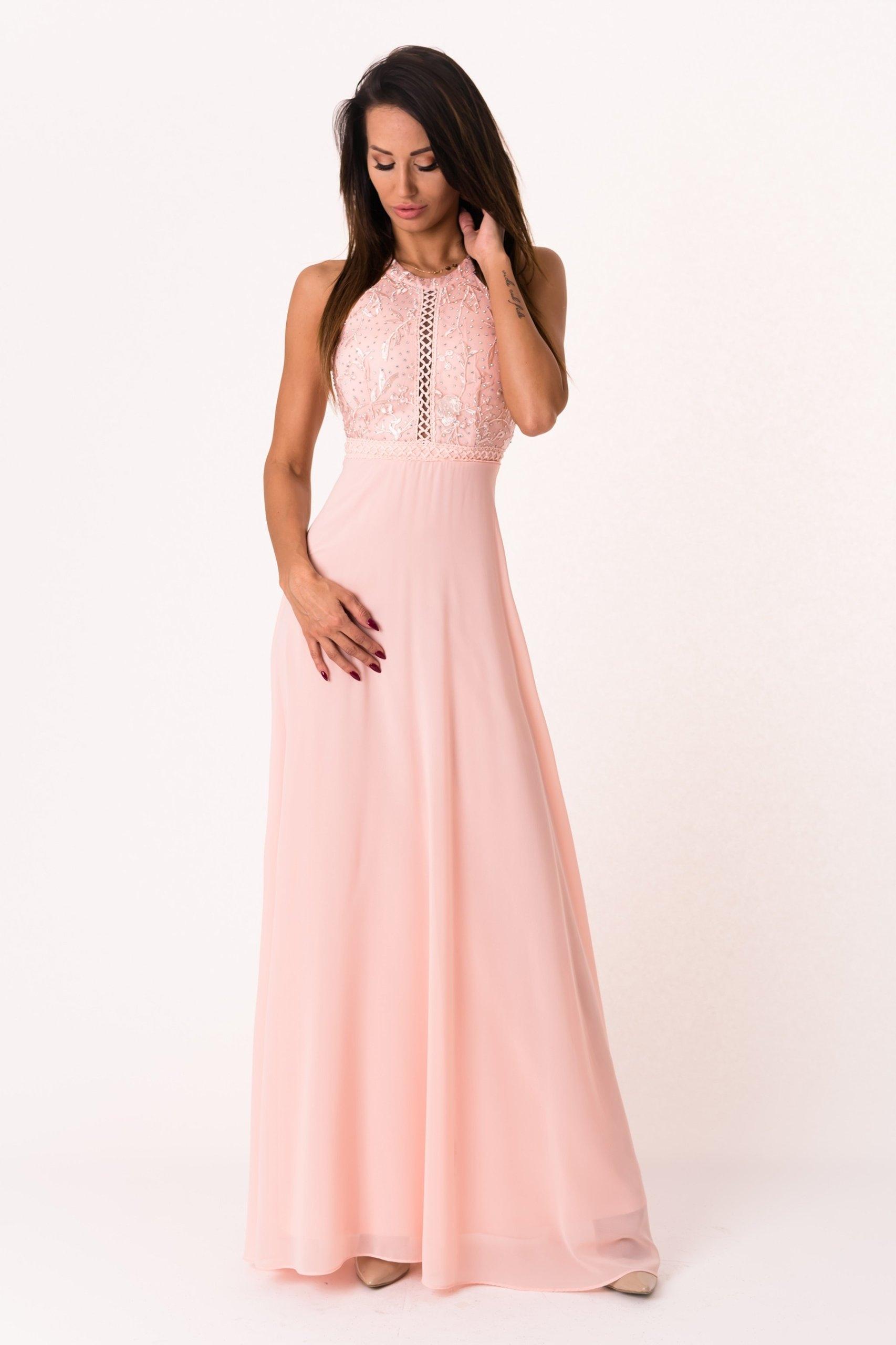 06cef2f97a Długa suknia z cyrkoniami - pudrowy róż L - 7200906084 - oficjalne ...