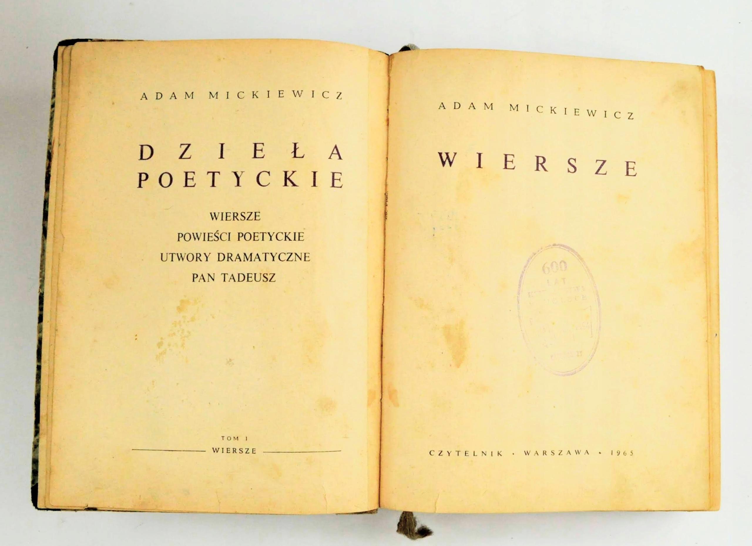 Adam Mickiewicz Wiersze Dramaty Pan Tadeusz