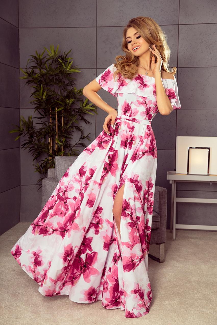 3309cf30c8 LaTua Długa suknia HISZPANKA MAXI KWIATY RÓŻOWA XL - 7478417510 ...