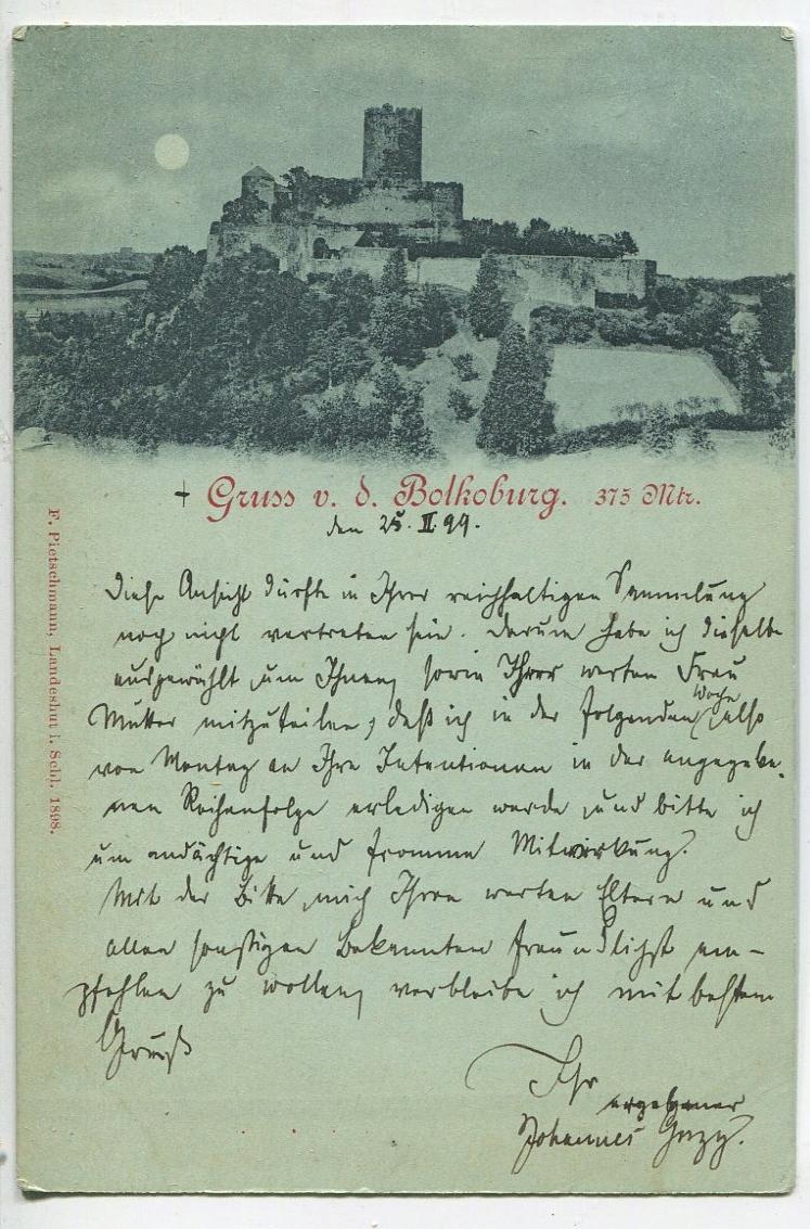 pocztówka BOLKOBURG 1899 zamek Bolków Śląsk