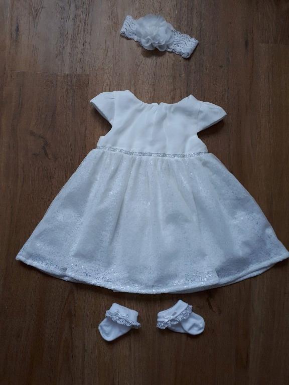 6c9cb16a0b Cool Club sukienka chrzest + dodatki 74 j. nowa - 7652924189 ...