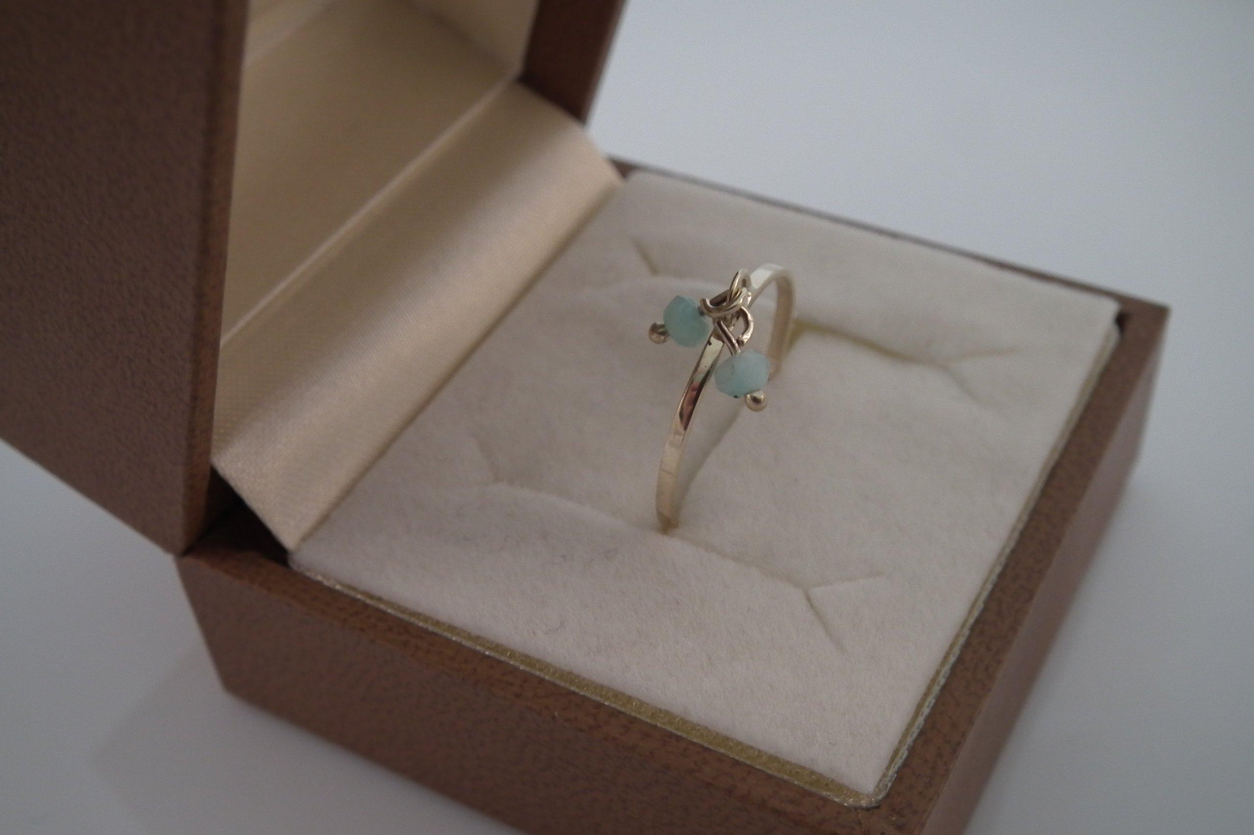 Bardzo dobryFantastyczny Złoty Pierścionek z Jadeitem niebieskim - 7388136346 - oficjalne OZ69