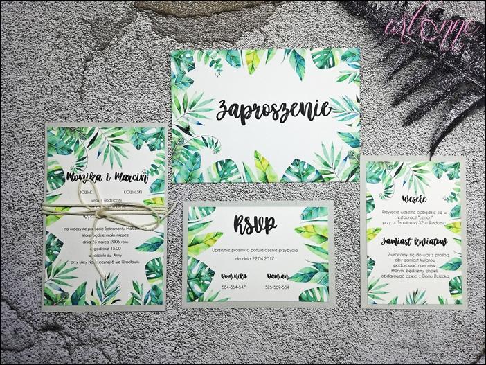 Zaproszenia ślubne Na ślub Greenery Felce 7074603652 Oficjalne