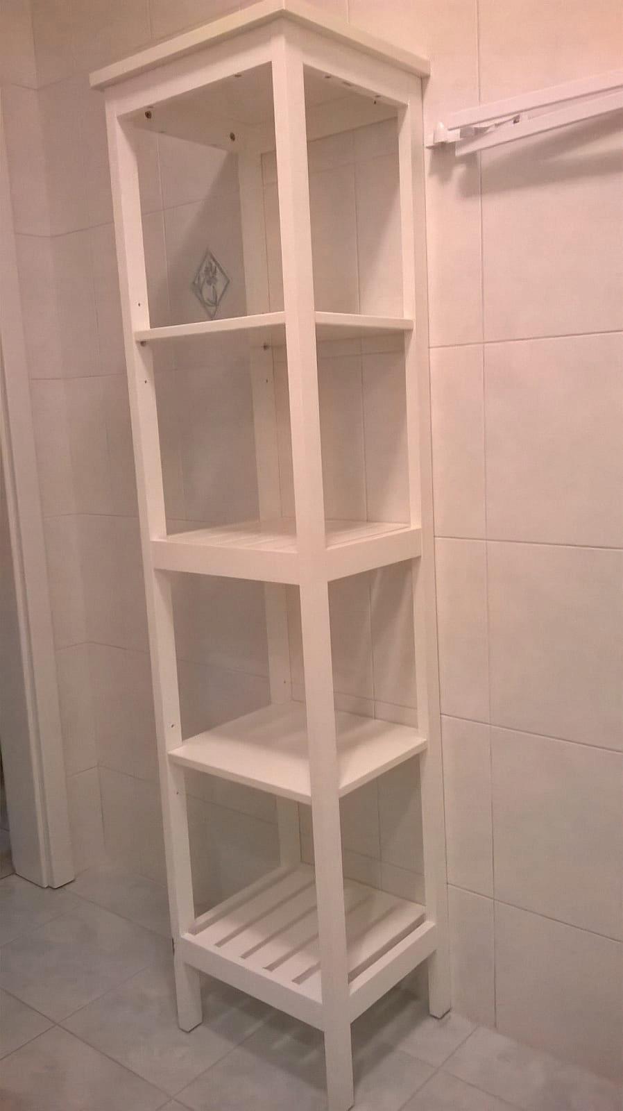 Drewniany Biały Regał Stojak Z Półkami Do łazienki